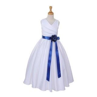 Girls White Royal Blue Sash Satin V-Neck Tulle Overlay Flower Girl Dress