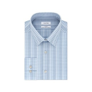 Link to Calvin Klein Men's Slim-Fit Performance Stretch Dress Shirt, Blue, M (15''1/2,32/33) Similar Items in Shirts