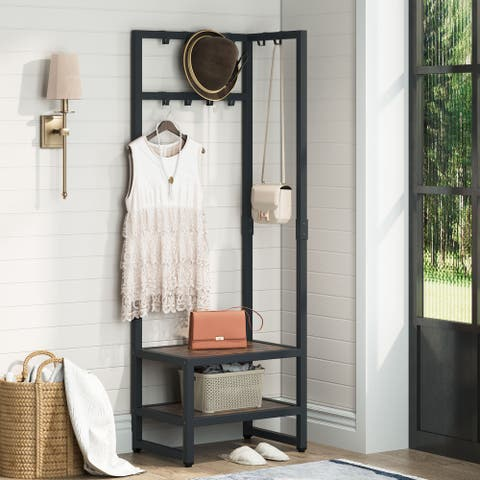 Coat Rack with Shoe Storage Bench for Entry, Industrial