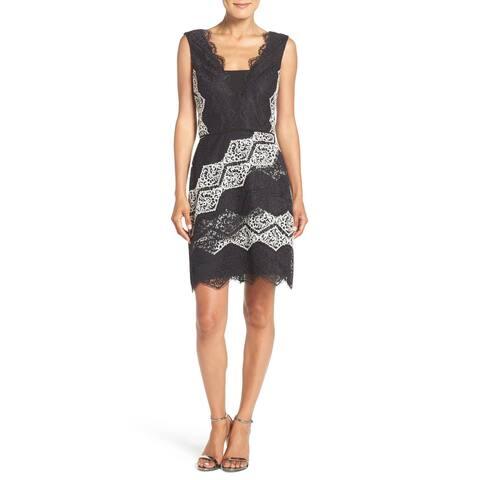 Maggy London Black White Womens Size 10 Lace V-Neck Sheath Dress