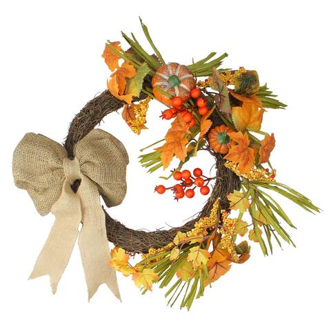 Orange Pumpkins and Berries with Bow Artificial Wreath - 20-Inch, Unlit
