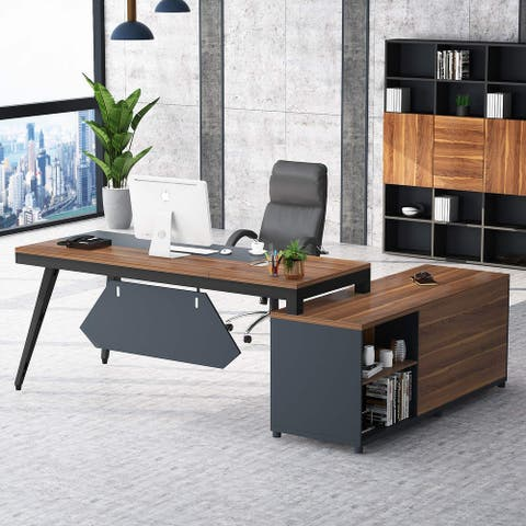 """71"""" L-Shaped Executive Computer Desk with 63"""" File Cabinet"""