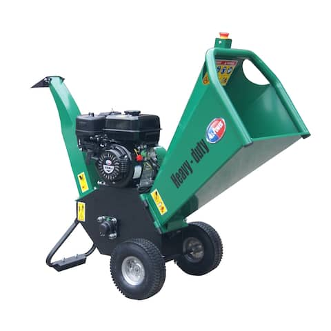"All Power Gas Powered Self-Feeding Wood Chipper Mulcher Shredder With Dual Reversible Double Edge Blades, 4"" & 6"", Green"