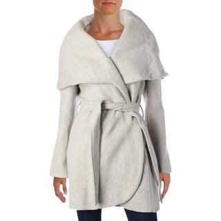 T Tahari Womens Marla Wrap Coat Tweed Oversized Collar (5 options available)