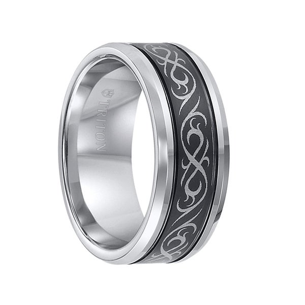 KIRBY Beveled Tungsten Ring with Dual Offset Grooves Laser Engraved Black Celtic Pattern Center by Triton Rings - 9mm