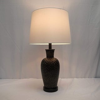 "26"" Rustic Black Hammered Vase Table Lamp"
