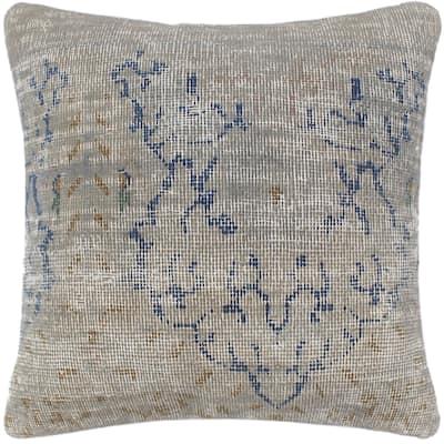 Boho Chic Pedersen Vintage Distressed Handmade Rug Pillow