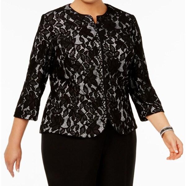 Alex Evenings Black Womens 1X Plus Floral Lace Open Front Jacket