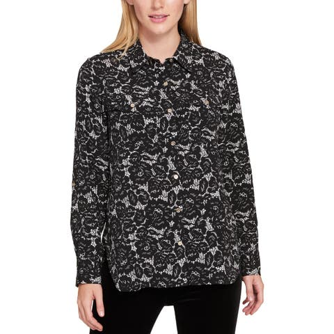Tommy Hilfiger Womens Button-Down Top Printed Lace