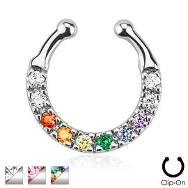 Ten Paved Gem Single Line Non-Piercing Septum Hanger (Sold Individually)