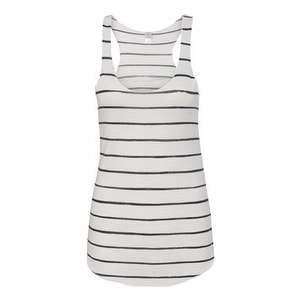 Women's Printed Meegs Eco-Jersey Racer Tank - Eco Ivory Ink Stripe - 2XL