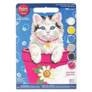 "Paint Works Paint By Number Kit 8""X10""-Flower Pot Kitten"
