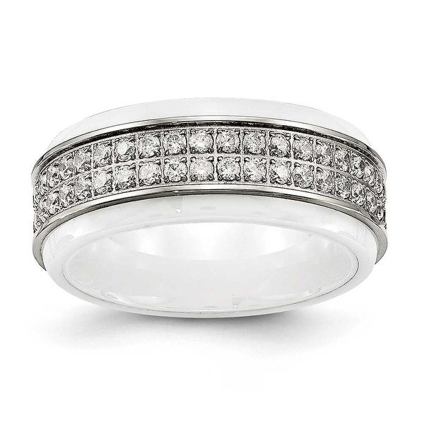 Stainless Steel Polished White Ceramic CZ Ridged edge Ring (8 mm)