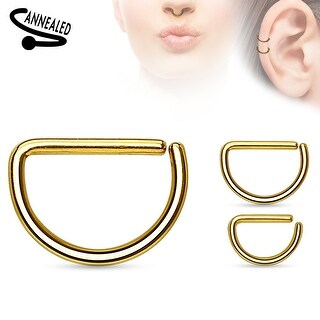 D Shape Annealed Titanium Anodized over Surgical Steel Cut Ring (Sold Ind.)