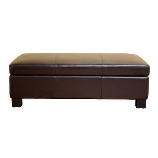 Gallo Dark Brown Leather Storage Ottoman