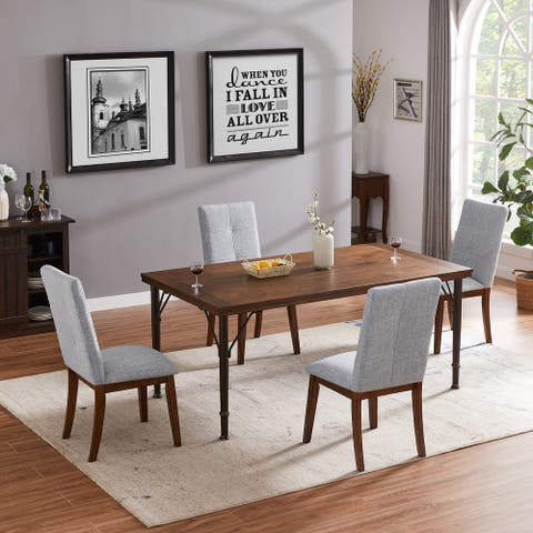 Furniture R Industrial Rectangular Wood Dining Table