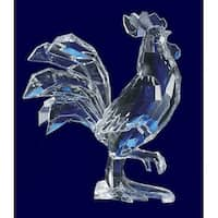 "Pack of 4 Icy Crystal Decorative Rooster Figurines 7"" - Clear"