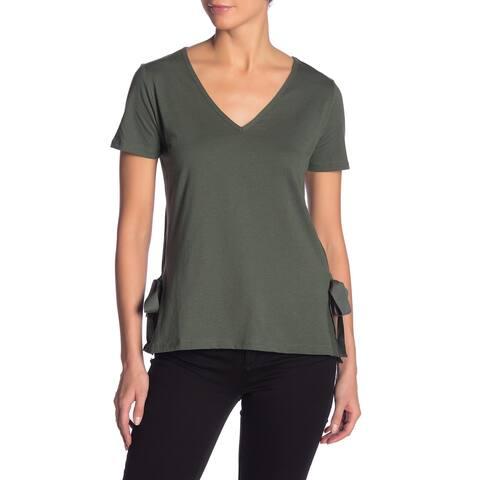 Joe Fresh Womens Top Army Green Size Medium M V-Neck Ribbon Side-Tie Tee 463