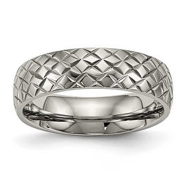 Titanium Polished Textured Ring (6 mm)