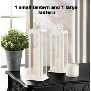 Large and Small Cutout Stars White Lanterns