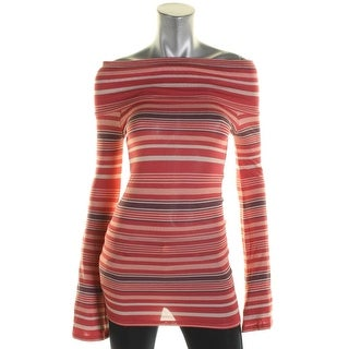 Free People Womens Casual Top Off-The-Shoulder Striped - xs