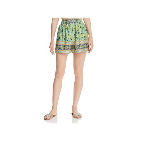 Band of Gypsies Womens Fiji Dress Shorts High Rise Printed - Sage Navy