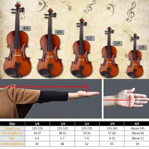 New 4/4 Acoustic Violin Case Bow Rosin Natural - 4/4