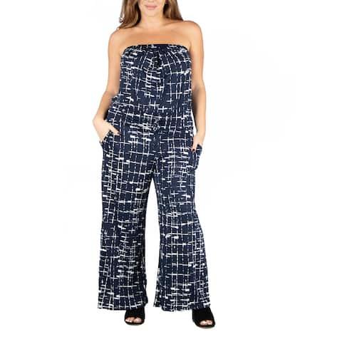 24seven Comfort Apparel Navy Print Strapless Plus Size Jumpsuit with Pockets P002526PNA
