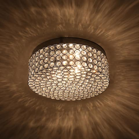 CO-Z Modern 2-Light Round Crystal Flush Mount Ceiling Light - Chrome