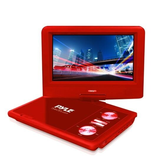 7'' Portable CD/DVD Player, Built-in Rechargeable Battery, USB/SD Card Memory Readers (Red)