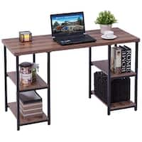 Costway Computer Desk PC Laptop Table Writing Study Workstation with 4 Storage Shelves - N/A