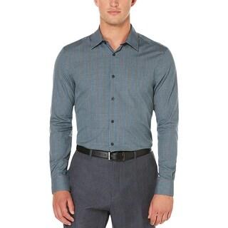 Perry Ellis Mens Button-Down Shirt 100% Cotton Plaid