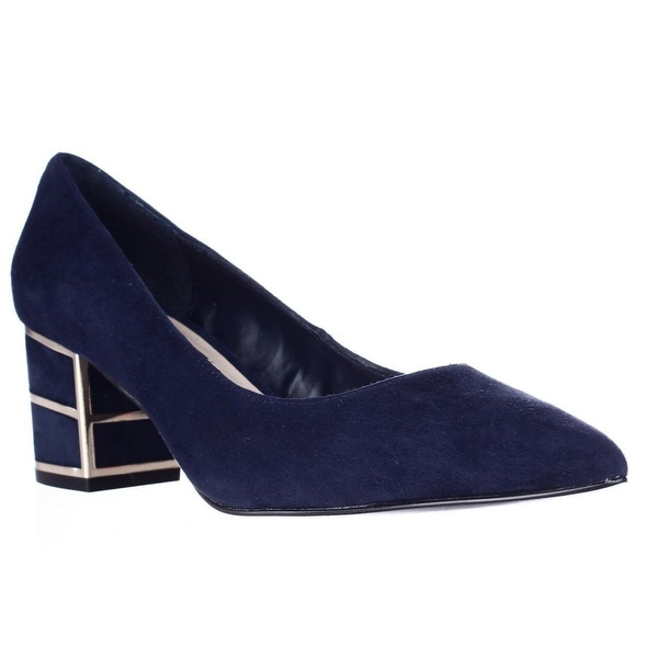 Steve Madden Buena Pointed Toe Block Heel Kitten Pumps, Navy
