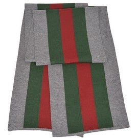 Gucci 206086 Wool Silk Grey Red Green Web Stripe Scarf Muffler