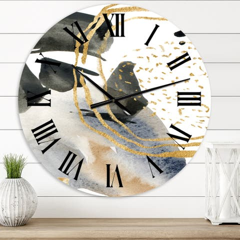 Designart 'Pastel Abstract With Blue Black Beige & Gold Spots' Modern wall clock