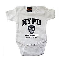 Nypd Infant Bodysuit White with Navy Chest Print