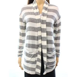 Designer NEW White Ivory Women's Size Medium M Cardigan Striped Sweater