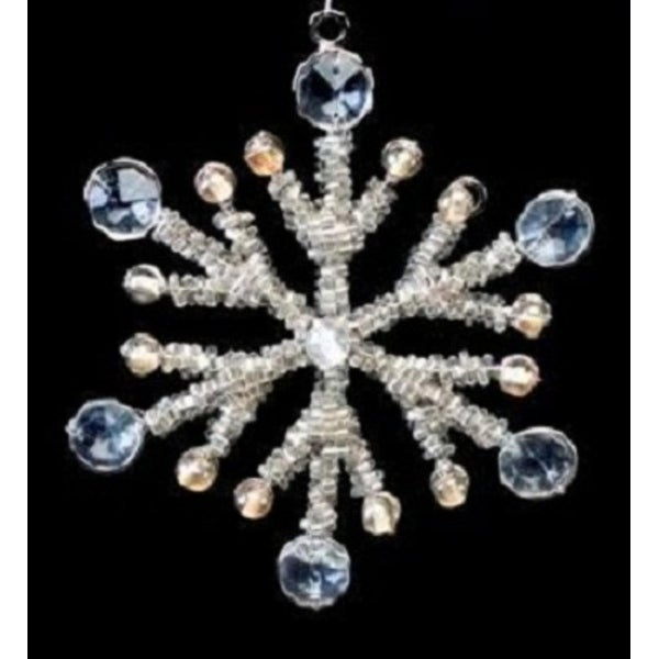 """Set of 4 Gray Crystal and Clear Beaded Medium Snowflake Christmas Ornaments 5.5"""""""