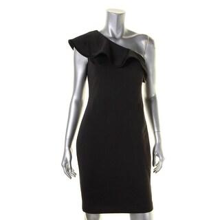 Calvin Klein Womens Petites Cocktail Dress One Shoulder Ruffled