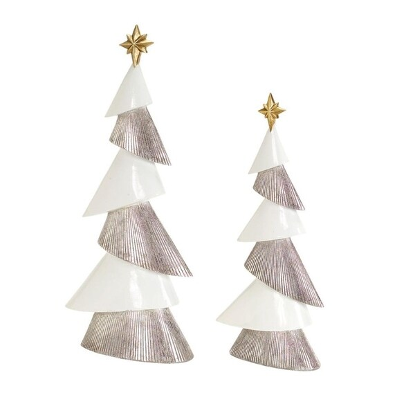 Set of 2 White and Silver Modern Style Christmas Tree Tabletop Decors 18""