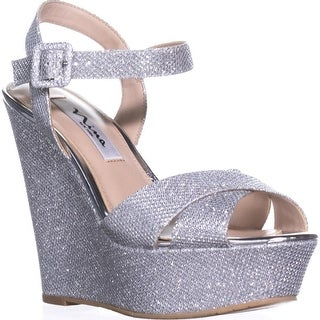 Nina Jinjer Platform Wedge Dress Sandals, Silver