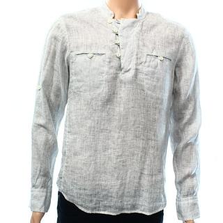 RNT23 MARK OF QUALITY NEW Gray Mens Size Medium M Henley Linen Shirt