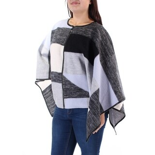 ALFANI $180 Womens New 1147 Gray Zip Neck Dolman Sleeve Poncho Sweater L B+B