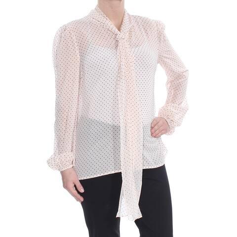 RACHEL ZOE Womens Pink Tie Polka Dot Long Sleeve Blouse Wear To Work Top Size: S