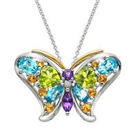4 3/8 ct Natural Multi-Stone Butterfly Pendant with Diamond in Sterling Silver & 14K Gold