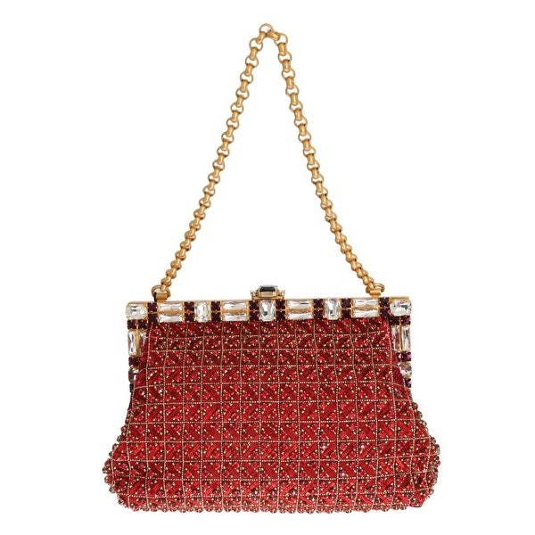 Dolce & Gabbana Red VANDA Crystal Sequined Gold Chain Women's Bag - One Size