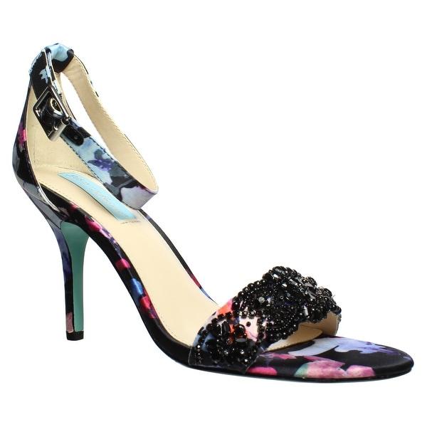 7a89b082029 Shop Betsey Johnson Womens Sb-Gina Black Floral Ankle Strap Heels ...
