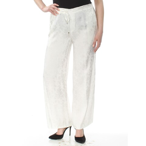 RALPH LAUREN Womens Ivory Drawstring Wide Leg Wear To Work Pants Size: 16