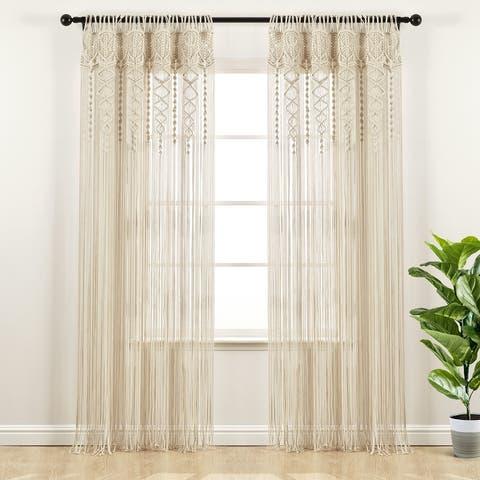"Lush Decor Boho Macrame Textured Cotton Window Curtain/Room Divider/Doorway/Wall Decor - 84"" x 40"""