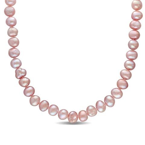 Miadora Sterling Silver Multi-Color Cultured Freshwater Pearl Strand Necklace (8 mm)